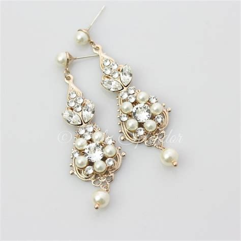 chandelier pearl earrings for wedding gold bridal earrings chandelier earrings vintage