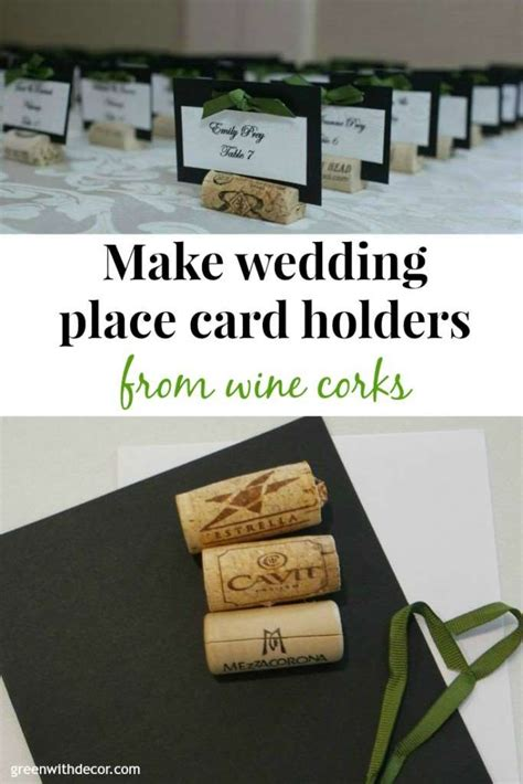 make place cards green with decor wedding place cards from wine corks