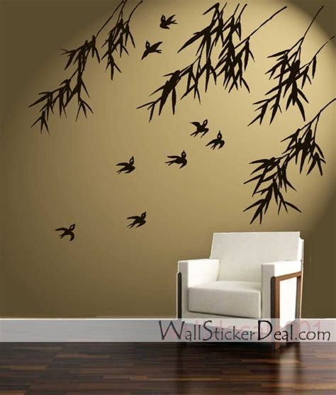 home stickers for walls birds and bamboo wall stickers home decorating photo