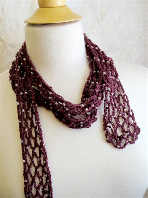 beaded scarfs crocheted burgundy beaded scarf cotton necklace