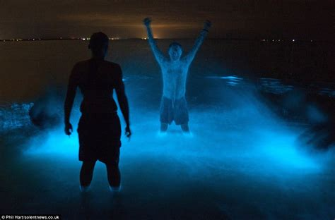 glow in the paint jamaica australian lake bioluminescence makes swimmers glow in