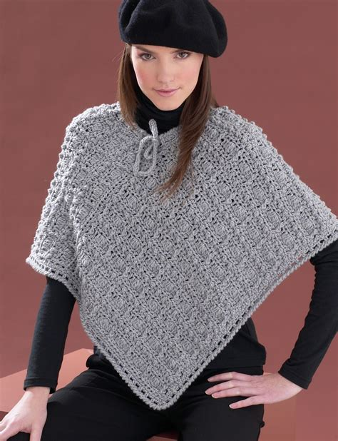 knitted poncho patterns for yarnspirations bernat patterned poncho