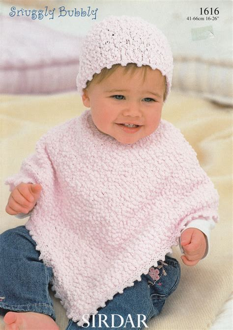 child s poncho knitting pattern baby poncho knitting pattern sirdar snuggly bubbly 1616