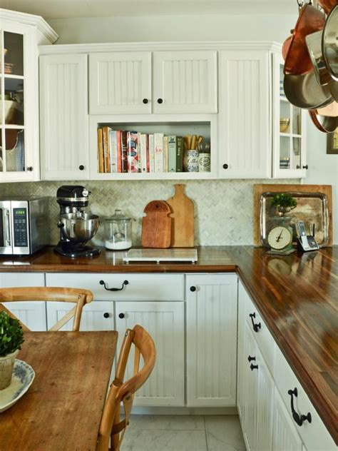 white kitchen cabinets with butcher block countertops do it yourself butcher block kitchen countertop hgtv