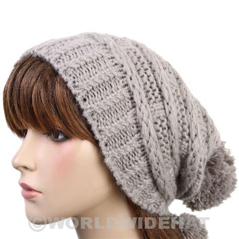 knit cap classic crochet hat knitted cap pom beanie gray