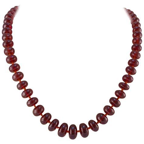 garnet bead necklace large orange garnet bead necklace for sale at 1stdibs