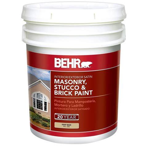 home depot 5 gallon interior paint behr 5 gal base satin masonry stucco and brick