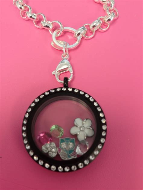 origami owl silver locket origami owl large silver with crystals matte black locket