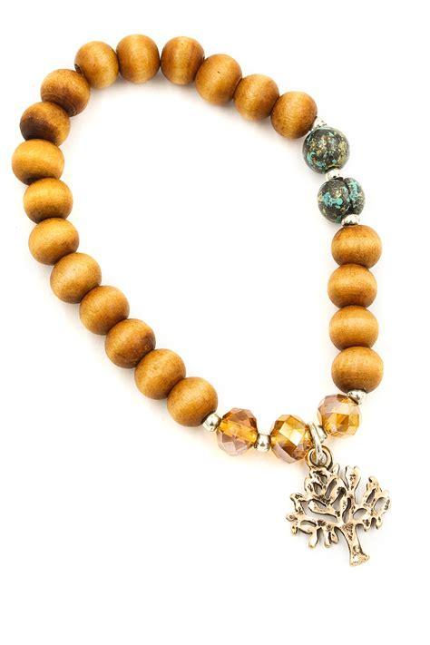 stretch bead bracelets tree of charm wood bead stretch bracelet bracelets
