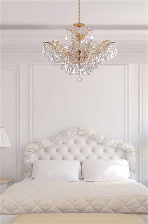 chandelier bedroom theresa gold chandelier in white bedroom