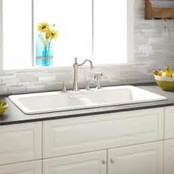 sink in kitchen 43 quot selkirk white bowl cast iron drop in kitchen