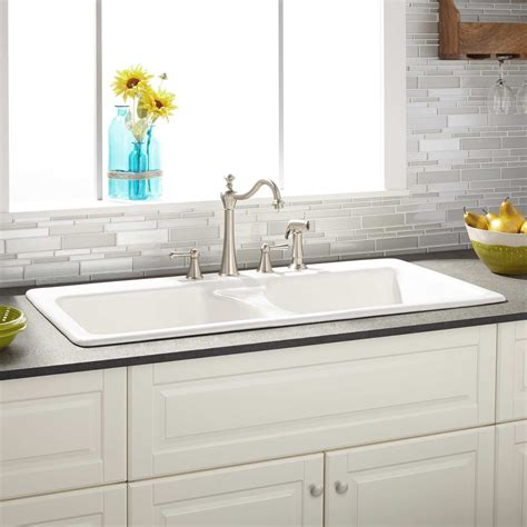 for kitchen sink 43 quot selkirk white bowl cast iron drop in kitchen