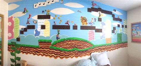 mario wall mural painted mario wall mural for my gamer