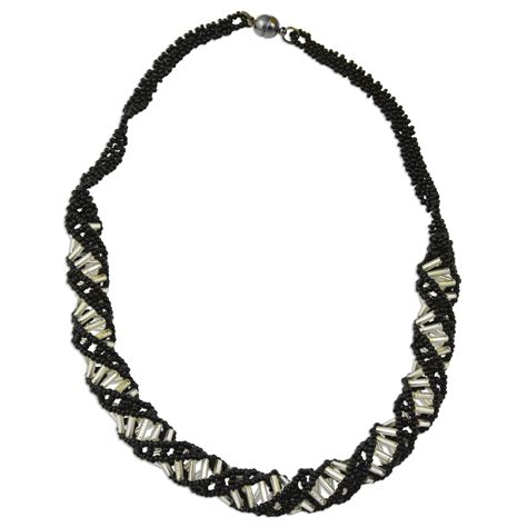 black beaded necklace dna black white beaded necklace 18 quot