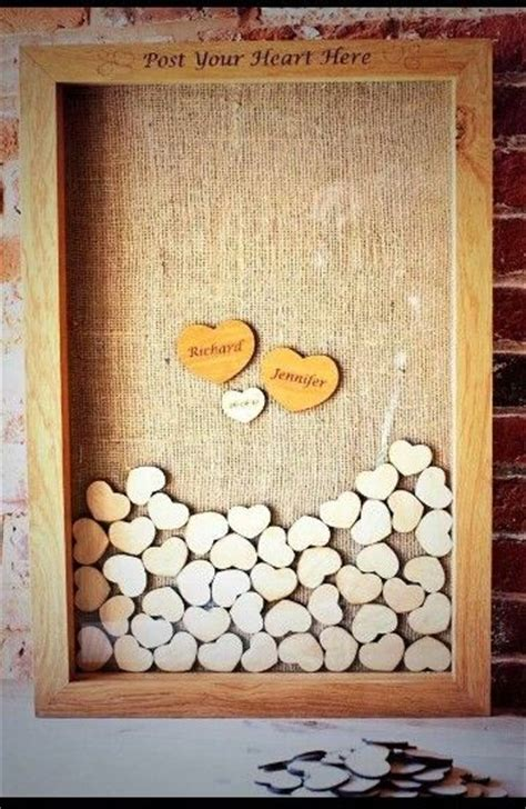 picture frame guest book ideas wooden hearts in a frame guest book idea wedding ideas