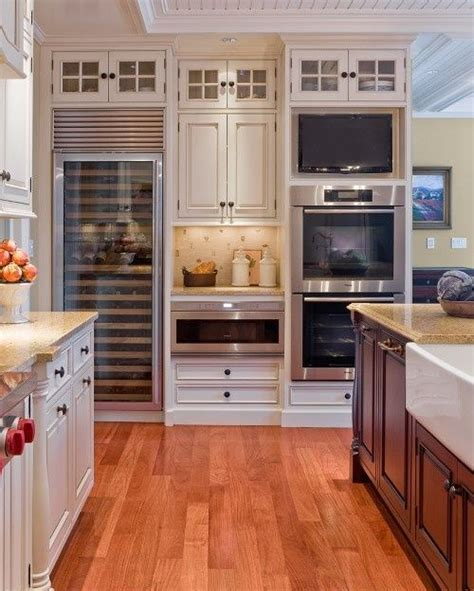 tv in kitchen ideas oven tv sub zero wine cabinet microwave warming drawer all in one wall modern high