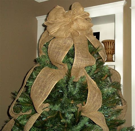 bows for tree burlap tree topper bow ready to ship tree