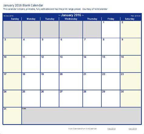 2016 calendar templates excel