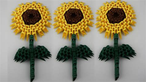 3d origami sunflower how to make a 3d origami sunflower diy tutorial free