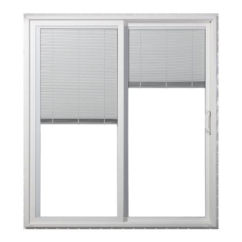 patio sliding glass doors lowes shop jeld wen 59 5 in blinds between the glass white vinyl sliding patio door with screen at