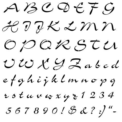 spray paint cursive font script letters alphabet stencils