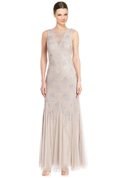 aidan mattox beaded gown aidan mattox platinum beaded godet evening gown dress 8 ebay