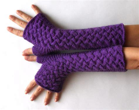 knit warmers knit fingerless gloves wool arm warmers purple warmers