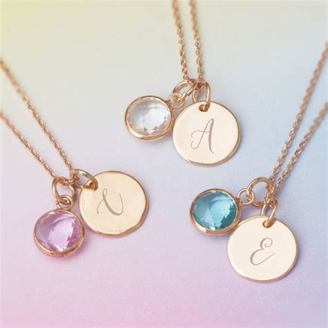 necklace for personalised initial birthstone necklace by bloom boutique