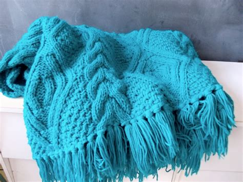 knitted throw blankets teal cable knit afghan vintage throw blanket