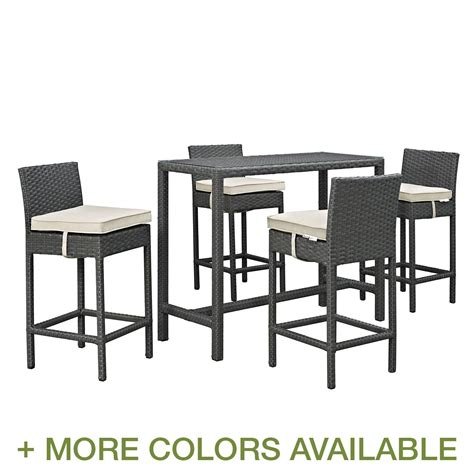 bar height patio dining set modway sojourn 5 outdoor patio bar height dining set