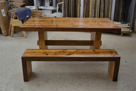 dining set reclaimed solid oak table and matching bench by