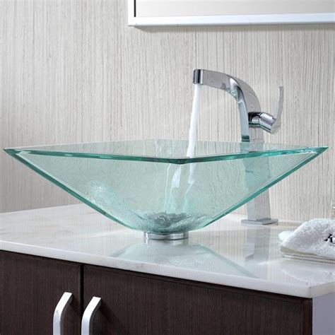 modern bathroom sink kraus c gvs 901 19mm 15100ch clear aquamarine glass vessel