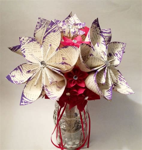 origami flower wedding paper flower wedding bouquet 10 inch 18 flowers handmade