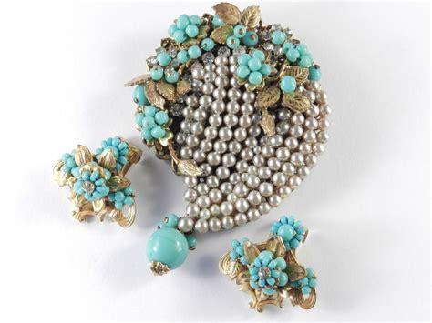 Eugene Glass Bead Rhinestone Faux Pearl Brooch Pin