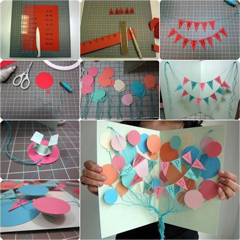 how to make happy birthday cards how to diy creative happy birthday banner and balloon card