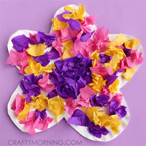 paper flower craft for children paper plate flower craft using tissue paper crafty morning