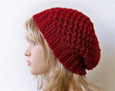 knitting hat slouchy beanie knit pattern a knitting