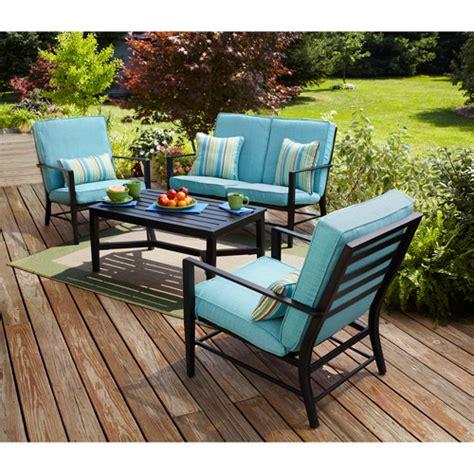 conversation set patio furniture mainstays rockview 4 patio conversation set seats 4