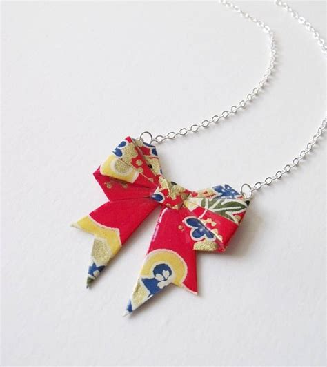 origami jewellery uk primary washi paper origami bow necklace by matin lapin