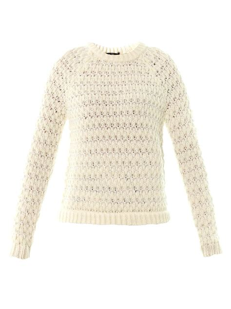 honeycomb knit sweater tibi honeycomb knit sweater in beige ivory lyst
