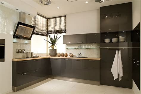 L Shaped Kitchen Layout With Island high gloss anthracite acrylic kitchens