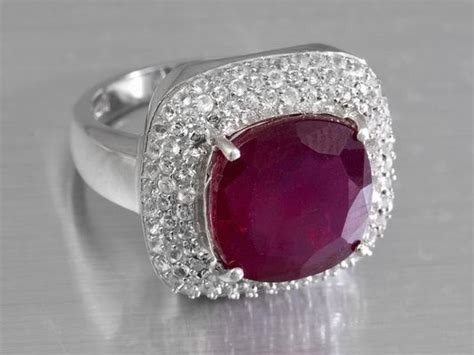 jtv jewelry mahaleo ruby and white topaz sterling silver ring