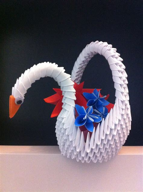 how to make 3d origami animals 3d origami swan basket by kanna chan0 on deviantart