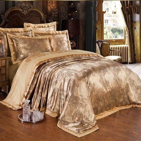 jacquard bed set jacquard silk bedclothes bedding set luxury 4pcs gold