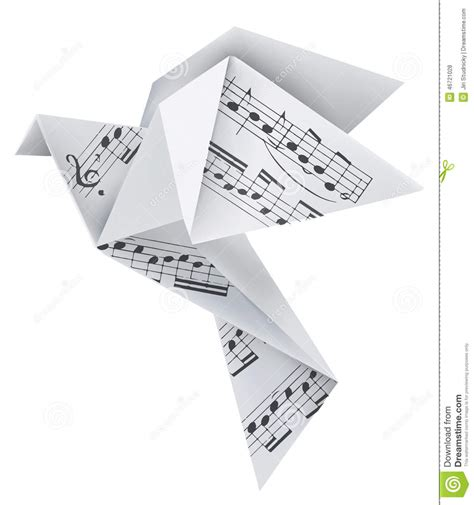 10 note origami origami pigeon with musical notes stock vector image