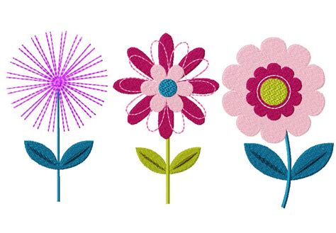 flowers designs flower three pack machine embroidery designs daily