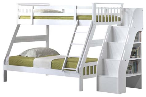 bookcase bunk beds youth bunk bed with attached stairway bookcase white