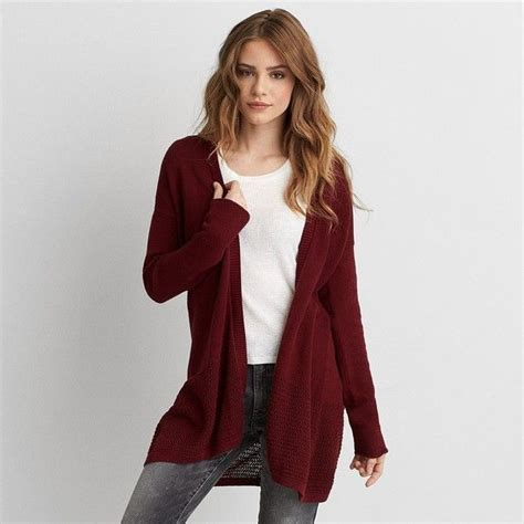 maroon knit cardigan aeo open stitch cardigan 45 liked on polyvore featuring