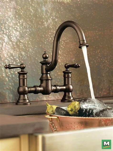 farmhouse kitchen faucet of vintage character and farmhouse fresh style the moen 174 waterhill 174 two handle kitchen