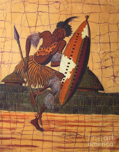 zulu painting zulu warrior by chikwondi